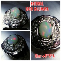 Natural Cincin Batu Permata Black Opal Kalimaya Jarong A8
