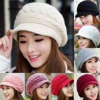 Topi rajut wanita kupluk hangat warna polos import Beanie hat top cap