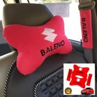 asesoris bantal eksklusif mobil Suzuki Baleno merah