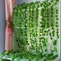 Daun Lotus Bulat 2m Rambat Plastik Hiasan Dinding Artificial Fake Leaf