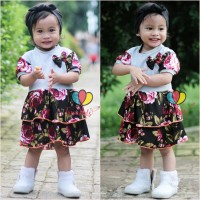 Dress Emma Lengan uk 1-4 Tahun - Dres Anak Perempuan Lengan Baju Pita