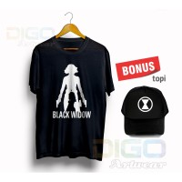 Kaos Baju Tshirt black widow bonus topi premium