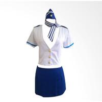 Lingerie Sexy Kostum Cosplay Seragam Petugas Penerbangan A130 - Biru, L