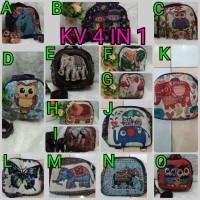Tas kanvas 4in1 /tas thailand gajah owl / import best seller