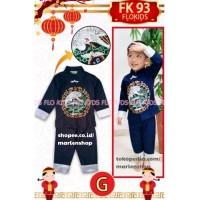 Import FK 93 G Setelan Baju Cheongsam Imlek Anak Laki Burung Biru Navy