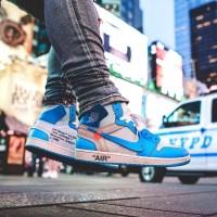 Sepatu Nike Air Jordan 1 OFF White UNC Blue Premium Original