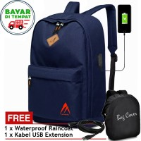 Tas Backpack Laptop USB Charger 5515 Tas Pria Wanita Tas Ransel Blue