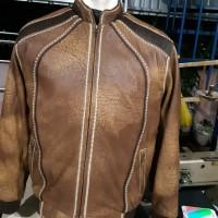 Jaket kulit domba warna coklat woss anyam