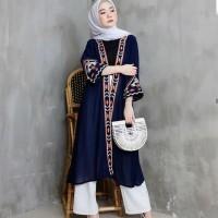 Baju Atasan Tunik Cardigan Wanita Etnik Cardy Long Tunik Muslim