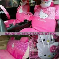 Sarung Jok Mobil AGYA AYLA Full Set Motif HELLO KITTY Pink Berkualita