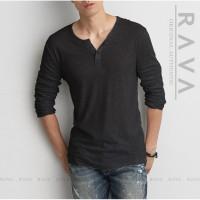 New RAVA Baju Kaos Henley Lengan Panjang Kancing ORIGINAL PREMIUM