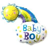 Balon Foil Baby Boy / Balon Baby Shower / Balon Baby Boy Sun Rainbow