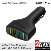 AUKEY Car Charger Mobil 4 USB Port 54w Quick Charge QC 3.0 CC-T9 ports