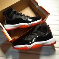 Sepatu Nike Air Jordan 11 Retro Bred  Black Red  Premium Original