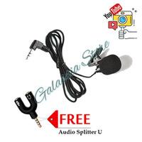 Mic Clip On Jepit 3.5mm Bahan Benang + Audio Splitter U Paket Vlogger