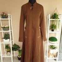 Baju Gamis Pemda Aceh Khaki Tua Gelap Kerah Shanghai Bahan Lokal Azkia