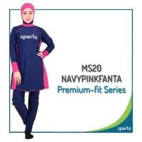 BAJU RENANG MUSLIMAH SPORTE MS-20 NAVY PINK FANTA