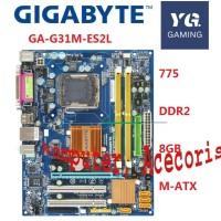 GIGABYTE GA G31M ES2L Motherboard G31 CPU Socket LGA 775 untuk Core 2