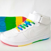 Sepatu Wanita Nike Air Force One Rainbow Tinggi