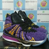 sepatu basket nike lebron 17 lakers purple
