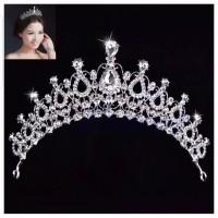Mahkota Hiasan Rambut Tiara Crown Aksesoris Wedding Pesta Pengantin C5