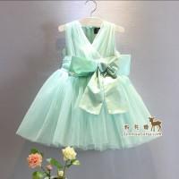 Baju pesta anak import . Dress pesta anak hijau tosca alexandra dress