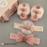 Hadiah Cute NewBorn Headband Baby Bayi Pink Shower Ribbon Pita Parcel