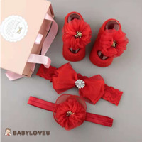 Hadiah Hamper Cute NewBorn Headband Baby Bayi Shower Merah Pita Imlek
