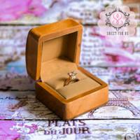 Brown Wood Ring Box with Black velvet inside | Kotak Cincin Kayu Banta