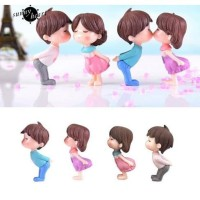 Miniature Lover Figures - Lovers Couple Figurines #11 (2pcs) - white pink