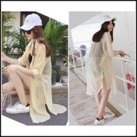 AB637862 Baju Atasan Garis Kemeja Panjang Transparan Wanita Korea