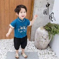baju bayi setelan baju cheongsham biru CNY Imlek for baby 1-4 tahun