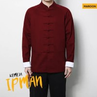 Baju Kemeja Koko Imlek Pria Lengan Panjang Original Ipman Kungfu Maron