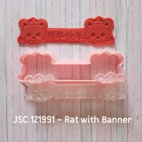 Cookie cutter Imlek RAT WITH BANNER size 12 cm