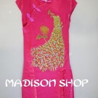 Cheongsham Merak Pink Dress Anak Baju Imlek Saten Sutra Anak Murah