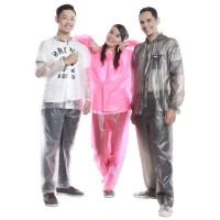 Jas Hujan Setelan Murah Cewek Wanita Set jaket Celana PINK Elmondo 935