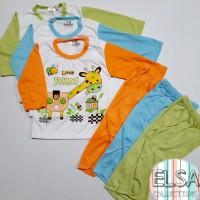 Setelan Baju Panjang Bayi Anak Laki-Laki Usia 3-15 Bulan Motif Jerapah