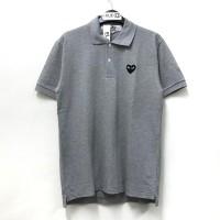 Comme Des Garcons CDG Play Black Emblem Grey Polo Shirt 100% Original