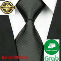Dasi Panjang Pria Motif Salur Hitam / Black - Lebar 3 inchi ( 7-8 cm )