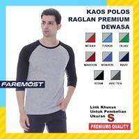 Faremost Kaos Polos Pria Raglan Lengan 3/4 ABU MISTY- Ukuran S - All Size, Merah Muda