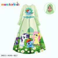 Baju Muslim Anak Perempuan Gamis My Little Pony Hijau 3-in-1 Teen - 11-12 tahun