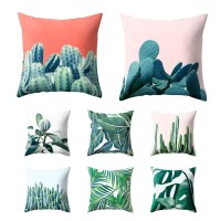 LiveCity Sarung Bantal Sofa dengan Motif Print Dedaunan Kaktus