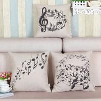 [Bayar Di Tempat]Sarung Bantalan Sofa: Motif Melodi Not Balok Musik