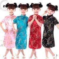 Dress Cheongsam Anak Murah Baju Qipao Kostum Imlek Oriental Gaun Merah