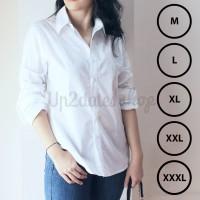 Kemeja Wanita Cewek Warna Putih Polos Atasan Kerja Tangan Panjang