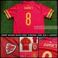 Jersey Baju Bola Negara Wales Kit Home Piala Eropa 2020 & Nameset 2021