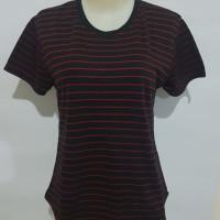 Gelmello Oblong wanita T-Shirt kaos atasan cewek Oblong Salur -01 - Hitam Merah, M