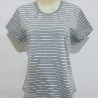 Gelmello Oblong wanita T-Shirt kaos atasan cewek Oblong Salur -02 - Putih Abu, M