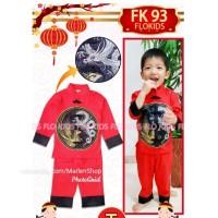 Import FK93 T Setelan Baju Cheongsam Imlek Anak Laki-laki Naga Merah