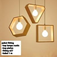 kap lampu gantung fitting e27 rustic jati belanda dekorasi cafe
